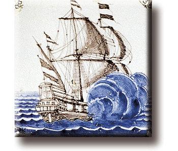 Fridge magnet, Delft blue tile, East Indies Ship