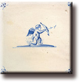 Imán de nevera, azulejo azul de Delft, Cupido
