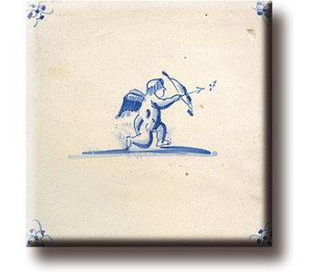 Koelkastmagneet, Delfts blauwe tegel, Cupido