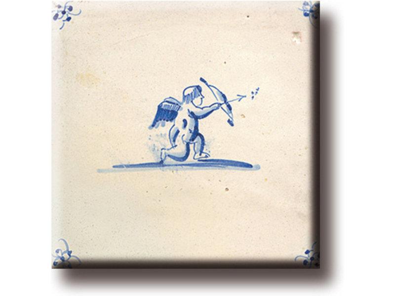 Kühlschrankmagnet, Delfter blaue Fliese, Amor