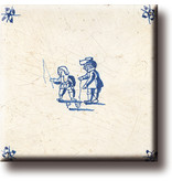 Imán de nevera, azulejo azul de Delft, juegos infantiles, peonzas