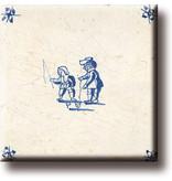 Koelkastmagneet, Delfts blauwe tegel, Kinderspelen, tollen