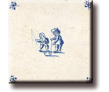 Aimant pour réfrigérateur, carrelage bleu Delft, jeux pour enfants, toupies