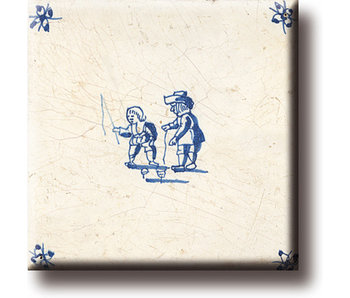 Kühlschrankmagnet, Delfter blaue Fliese, Kinderspiele, Kreisel