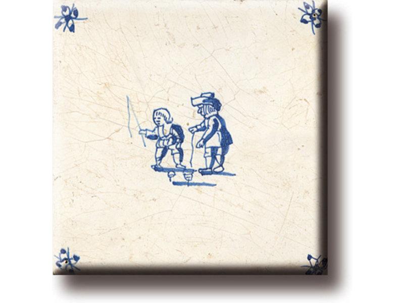 Magnet pour réfrigérateur, carrelage bleu Delft, jeux pour enfants, toupies