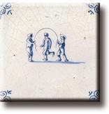 Koelkastmagneet, Delfts blauwe tegel, Kinderspelen, touwtje springen