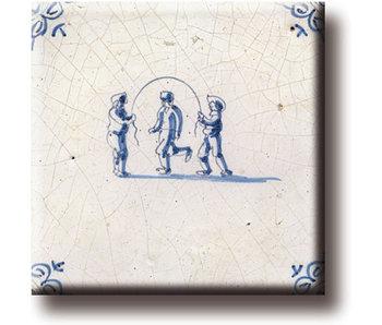 Fridge magnet, Delft blue tile, Children's games, jumping rope
