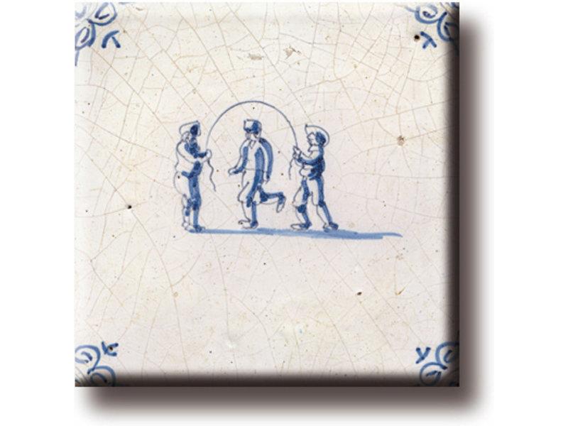 Imán de nevera, azulejo azul de Delft, juegos infantiles, saltar la cuerda