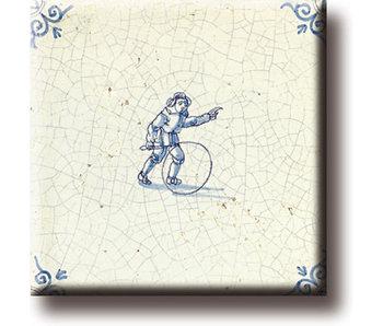Koelkastmagneet, Delfts blauwe tegel, Kinderspelen, hoepelen