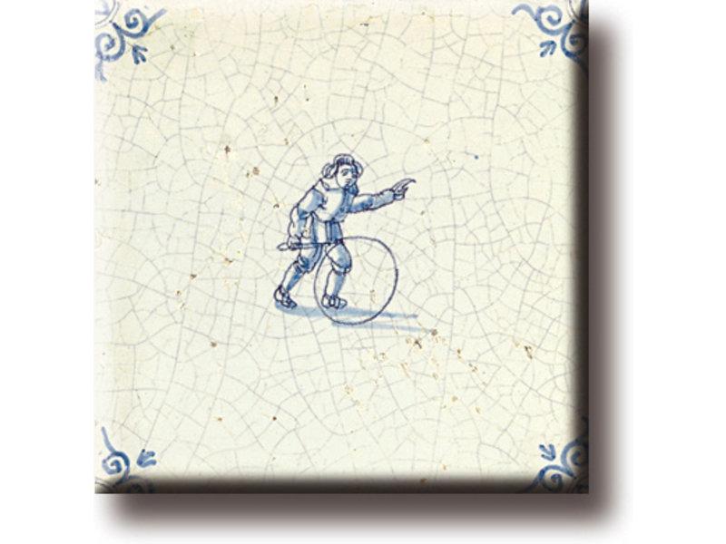 Aimant pour réfrigérateur, carrelage bleu Delft, jeux pour enfants, cerceaux