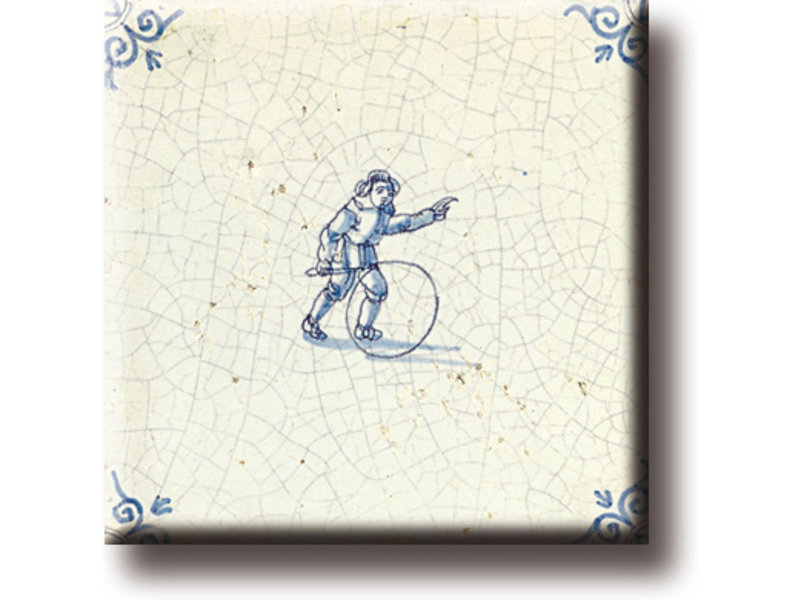 Koelkastmagneet, Delfts blauwe tegel, Kinderspelen: hoepelen