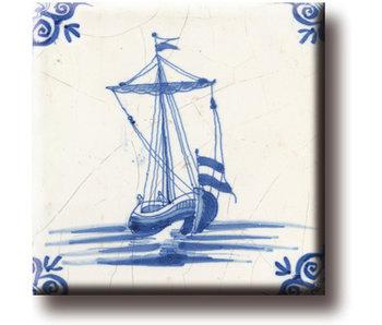 Aimant de réfrigérateur, carrelage bleu de Delft, bateau à café