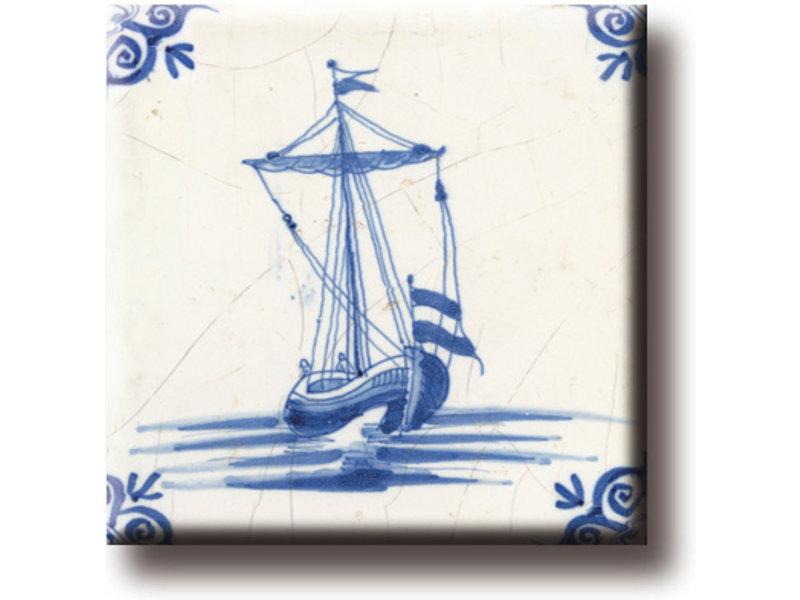 Koelkastmagneet, Delfts blauwe tegel, Kofschip