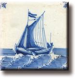 Koelkastmagneet, Delfts blauwe tegel, Zeilschip