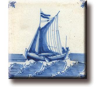 Magnet  de réfrigérateur, carrelage bleu de Delft, voilier