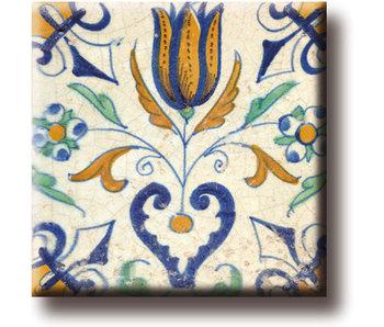 Imán de nevera, azulejo azul de Delft, tulipán con corazón