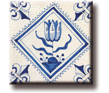 Koelkastmagneet, Delfts blauwe tegel, Tulp Quadrupel