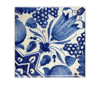 Imán de nevera, azulejo azul de Delft, tulipán diagonal