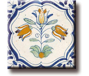 Imán de nevera, azulejo azul de Delft, triplete, policromo