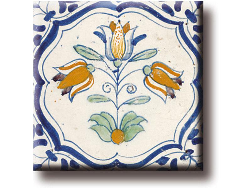 Koelkastmagneet, Delfts blauwe tegel, Drietulp, Polychrome
