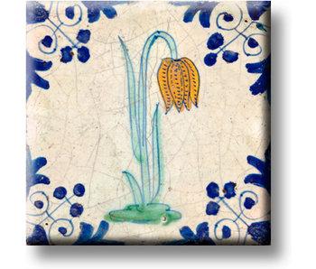 Fridge magnet, Delft blue tile, Lapwing flower