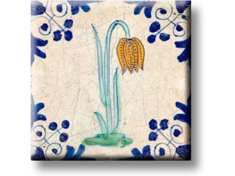 Imán de nevera, azulejo azul de Delft, flor de avefría