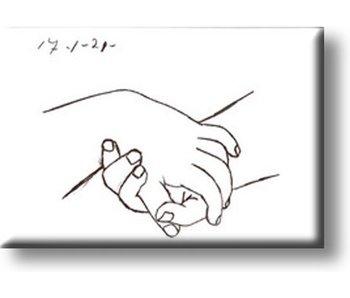Aimant de réfrigérateur, mains, Picasso