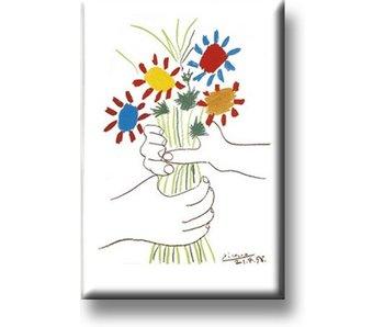 Kühlschrankmagnet, Blumenstrauß mit den Händen, Picasso