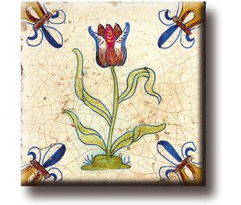 Koelkastmagneet, Delfts blauwe tegel, Tulp Rood