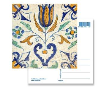 Postal, azulejo azul de Delft Tulipán con corazón