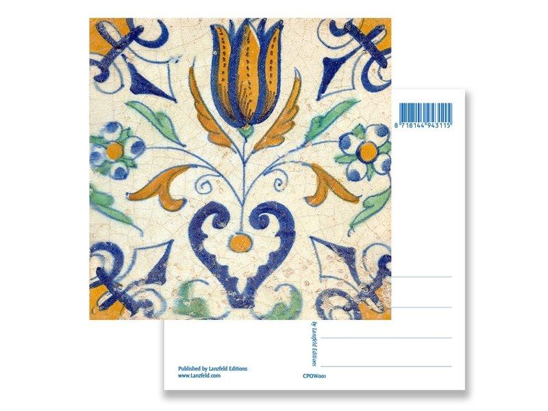 Ansichtkaart, Delfts blauwe tegel Tulp met hart