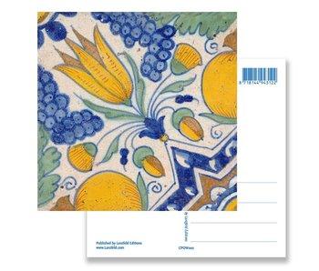Postcard, Delft Blue Tile Diagonal Tulip Polychrome