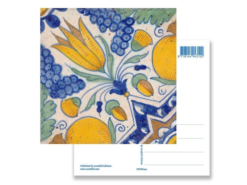 Ansichtkaart, Delfts blauwe tegel Diagonale Tulp Polychroom