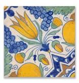 Postal, azulejo azul de Delft Diagonal Tulip Policromo
