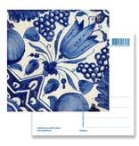 Carte postale, Delft Blue Tile Diagonal Tulip
