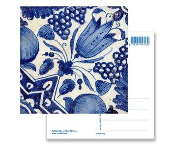 Postcard, Delft Blue Tile Diagonal Tulip