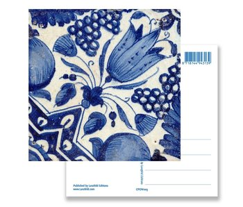 Postkarte, Delft Blue Tile Diagonal Tulip