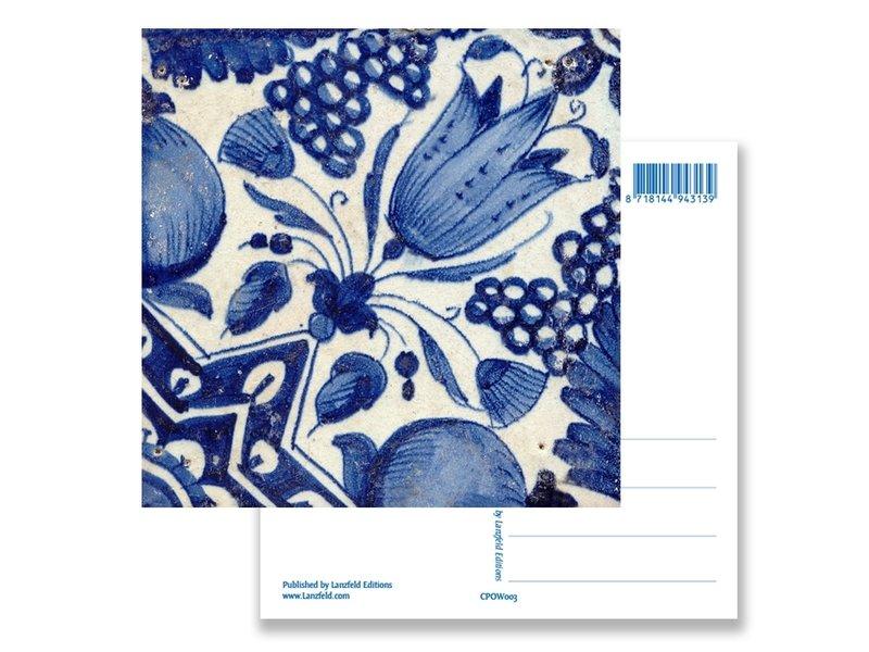 Postal, tulipán diagonal de azulejos azules de Delft