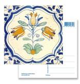 Carte postale, tuile bleue de Delft Trois tulipes
