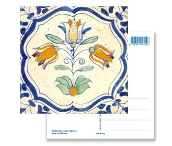 Postcard, Delft Blue Tile Triple Tulip