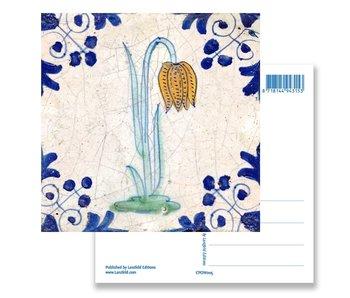 Postcard, Delft Blue Tile Leper Lily