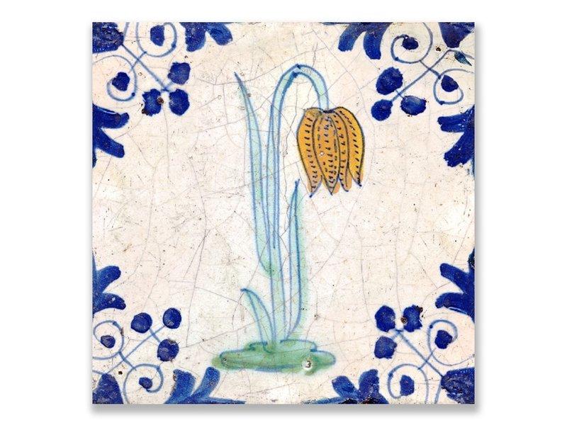 Ansichtkaart, Delfts blauwe tegel Kievitsbloem