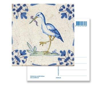 Postal, cigüeña de azulejo azul de Delft