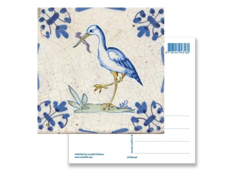 Ansichtkaart, Delfts blauwe tegel Ooievaar