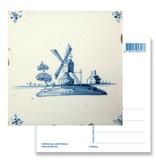 Ansichtkaart, Delfts blauwe tegel Windmolen 'De Eendracht'