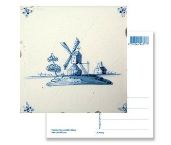 Postcard, Delft Blue Tile Windmill 'De Eendracht'