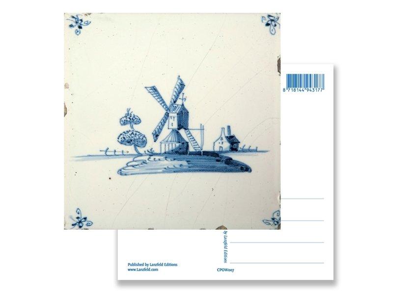 Postal, molino de viento de azulejos azules de Delft 'De Eendracht'