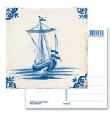 Ansichtkaart, Delfts blauwe tegel Zeilschip