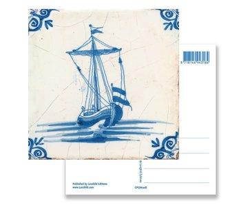 Postal, azulejo azul de Delft Velero