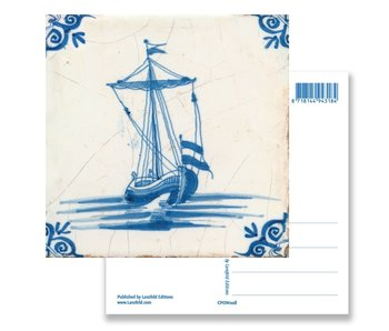 Postcard, Delft Blue Tile with Sailing Boat